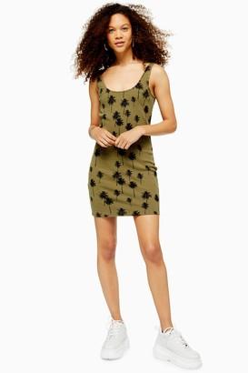 Topshop PETITE Khaki Palm Print Tunic Dress
