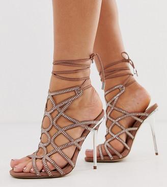 Asos Design DESIGN Wide Fit Winged rhinestone caged heeled sandals-Beige