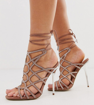 ASOS DESIGN Wide Fit Winged rhinestone caged heeled sandals