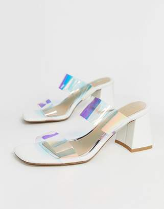 Head Over Heels By Dune Mocha white flared block heeled sandals with clear strap detail