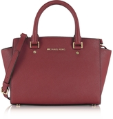 Michael Kors Selma Medium Mulberry Saffiano Leather Top-Zip Satchel Bag