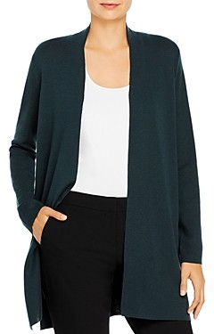 Eileen Fisher Long Open Front Wool Cardigan