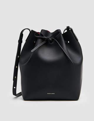 Mansur Gavriel Vegetable Tanned Bucket Bag in Black/Flamma