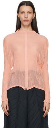 Issey Miyake Pink Chiffon Twist Zippered Blouse