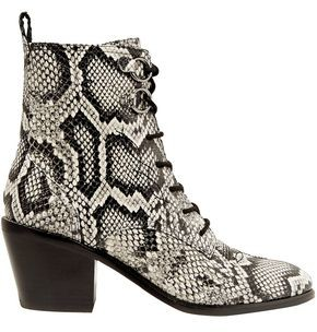 Diane von Furstenberg Dakota Snake-effect Leather Ankle Boots