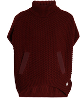 Moncler Roll-neck logo-appliqué wool poncho