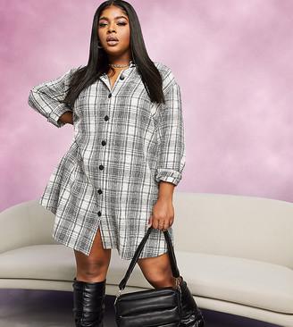 ASOS DESIGN Curve button-through mini shirt dress in boucle check