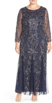 Pisarro Nights Embellished Three Quarter Sleeve Gown
