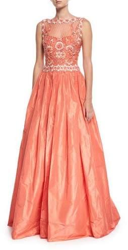 Naeem Khan High-Neck Sleeveless Beaded-Bodice Evening Gown