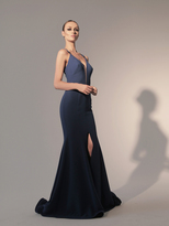 Nicole Bakti 582 Plunging Strappy Sheath Gown