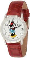 Disney Princess Disney Minnie Mouse Womens Red Leather Strap Watch-Wds000409