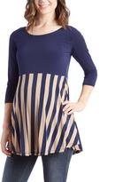 Glam Navy & Tan Stripe Three Quarter-Sleeve Maternity Tunic
