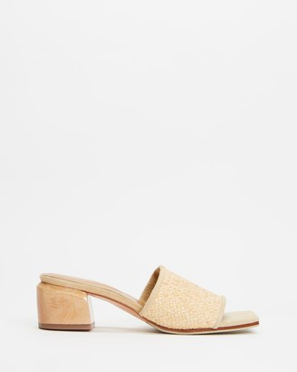 James Smith JAMES   SMITH - Women's Neutrals Heeled Sandals - The Sicily Slide Woven Mules - Size 36 at The Iconic