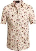 SSLR Men's Flower Buttondown Short Sleeve Shirt (, White (168-60))