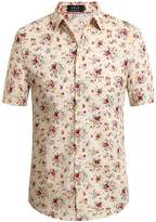 SSLR Men's Flower Casual Button Down Short Sleeve Shirt (, White (168-60))