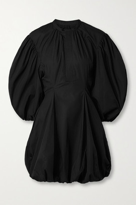 Bassike Gathered Cotton-poplin Mini Dress - Black