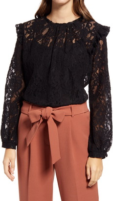 Halogen Long Sleeve Lace Top