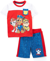 Children's Apparel Network PAW Patrol White & Red Nick Tee & Blue Shorts - Toddler