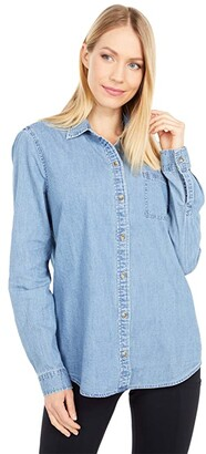 Southern Tide Emery Button Front Chambray (Light Indigo) Women's Clothing