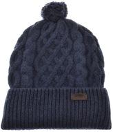 Barbour Cable Knit Beanie Hat Blue