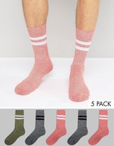 Asos Tube Style Socks in Twist 5 Pack
