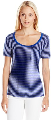 Three Dots Women's Heathered Stripe Pocket Tee