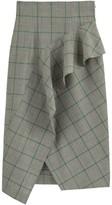 La Redoute Dawei X Checked Wool Midi Skirt with High Waist and Ruffles