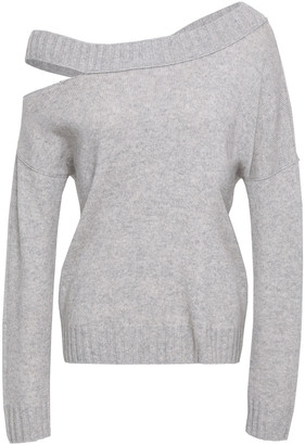 Vince Cutout Melange Wool And Cashmere-blend Sweater