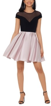 Betsy & Adam Illusion Colorblocked Fit & Flare Dress