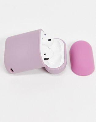 Typo ear pod tech sleeve in colourblock pink