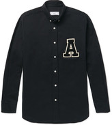 Ami Button-down Collar Appliquéd Cotton Oxford Shirt - Black
