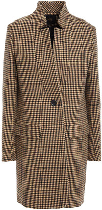 Maje Houndstooth Wool-blend Felt Coat