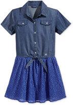 GUESS Layered-Look Denim & Lace Dress, Big Girls (7-16)