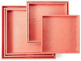 Twos Company Two's Company Two&s Company Coral Faux Leather Square Gallery Trays - Set of 6