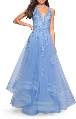 La Femme Plunge-Neck Tulle Ball Gown with Tiered Skirt & Lace Applique