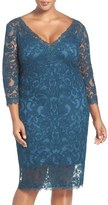 Tadashi Shoji Plus Size Women's Corded Tulle V-Neck Sheath Dress