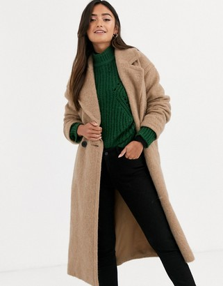 Asos Design DESIGN oversized brushed coat in camel-Beige