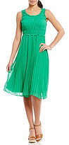 M.S.S.P. Solid Georgette Pleated Dress
