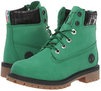 Timberland Kids 6 Premium Waterproof Boot - Boston Celtics (Big Kid) (Medium Green Nubuck) Kids Shoes