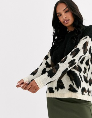 Liquorish oversized colour block leopard print jumper
