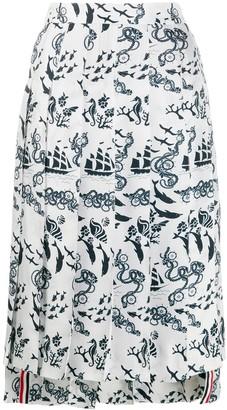 Thom Browne Nautical Print Pleated Skirt