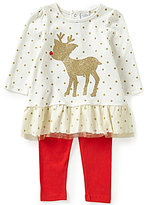 Starting Out Baby Girls 12-24 Months Christmas Reindeer Appliqued Tunic and Leggings Set