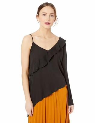 BCBGeneration Women's Asymmetric ONE Sleeve Woven TOP