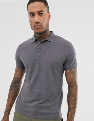 Asos Design DESIGN pique polo in charcoal marl-Gray