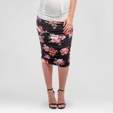 Expected by Lilac Maternity Floral Print Ruched Midi Skirt
