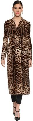 Dolce & Gabbana Printed Stretch Velvet Long Coat