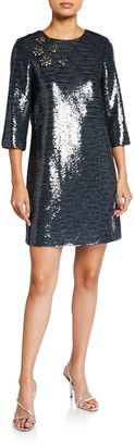 Badgley Mischka Sequin Sack Elbow-Sleeve Mini Dress w/ Broaches