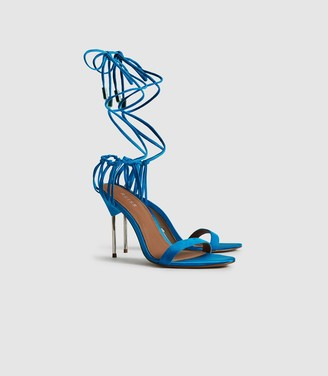 Reiss Zhane - Suede Strappy Wrap Sandals in Cobalt Blue