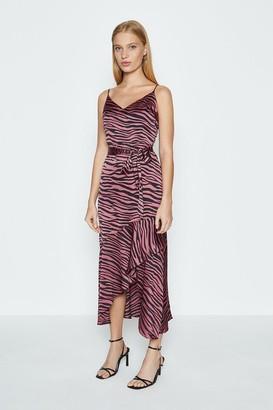 Coast Animal Print Satin Ruffle Hem Cami Dress
