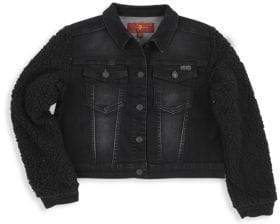 7 For All Mankind Little Girl's& Girl's Faux-Shearling Sleeve Denim Jacket - Black - Size 5